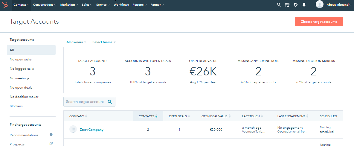Hubspot - ABM target accounts Dashboard example 2020