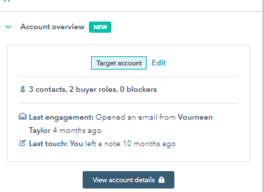Hubspot ABM Target account company overview pane