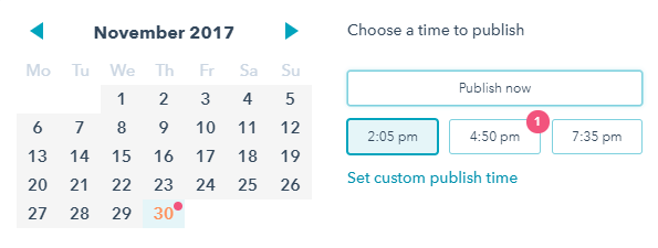 social media publishing in Hubspot - Schedule post times