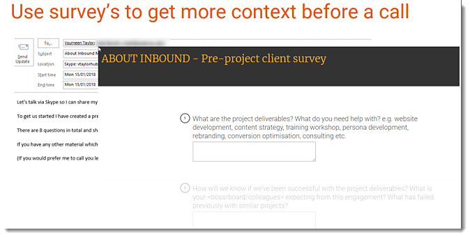 Inbound sales - Explore stage - Use surveys to get context before the call