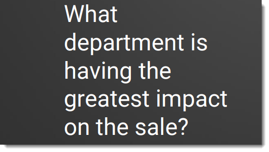 Inbound sales question - What department has greatest impact on the sale?