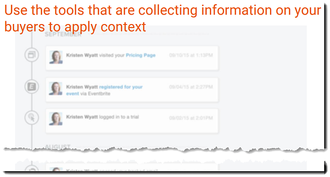 Inbound sales - Explore stage - Use tools that collect buyer information to apply context