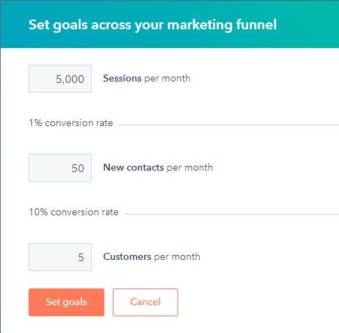 hubspot set goals app