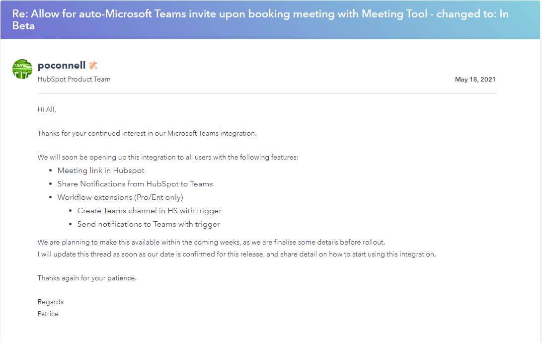 Screenshot of last update about Teams metings with Hubspot meeting scheduler integration on Hubspot community2021-09