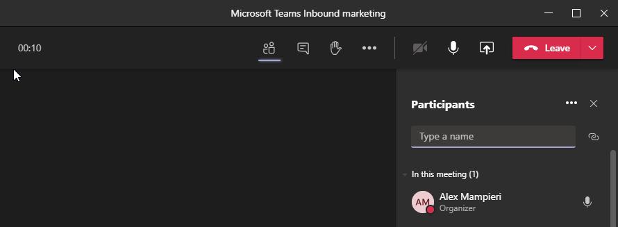 Microsoft teams meeting window